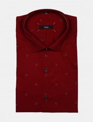 Fete red printed pattern cotton shirt