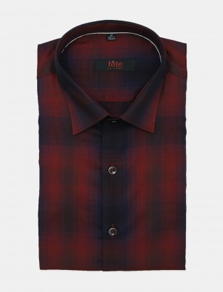 Fete red solid cotton formal shirt for mens
