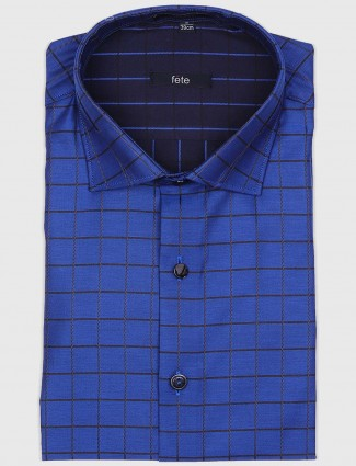 Fete royal blue checked pattern shirt