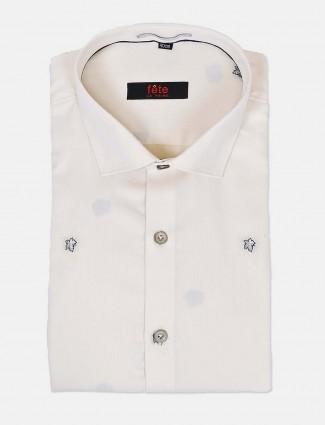 Fete solid cream zitter design formal shirt