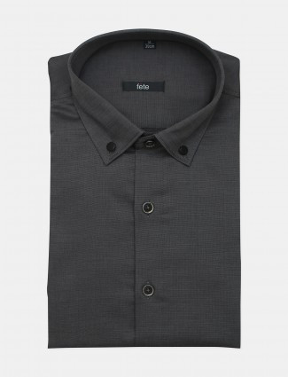 Fete solid style grey cotton formal shirt of men