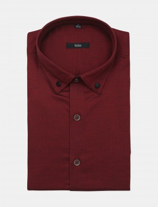 Fete solid style maroon cotton casual wear mens shirt