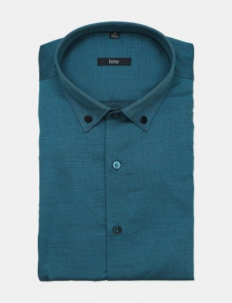 Fete solid style teal blue shirt for office look