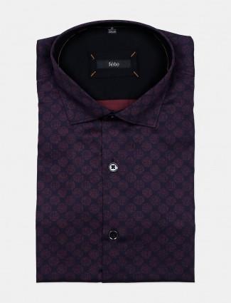 Fete violet printed cotton mens shirt
