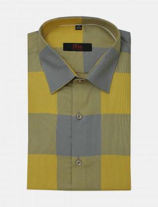 Fete yellow hued checks cotton shirt