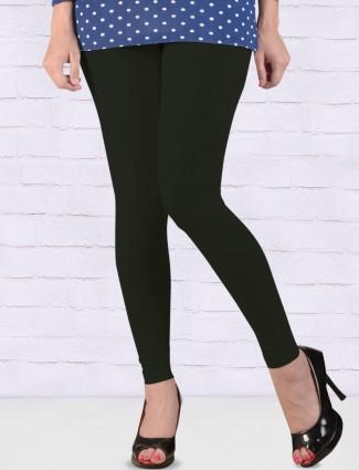 Go Colors black hue cotton fabric ankal length leggings