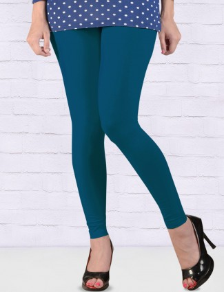 Go Colors rama blue cotton ankal length leggings
