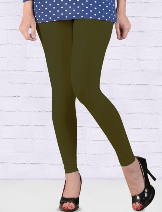 Go Colors solid olive hue stretchable ankal length leggings
