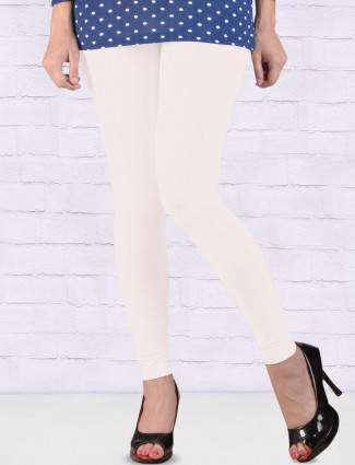 Go Colors white color solid ankal length leggings