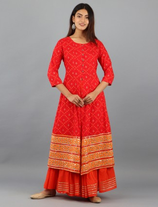 Fire orange cotton festive wear printed punjabi style palazzo suit