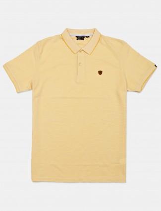 Fitzberg mustard yellow solid cotton t-shirt