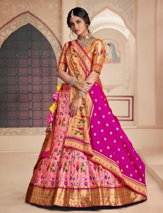 Flamingo pink hue banarasi silk wedding lehenga choli