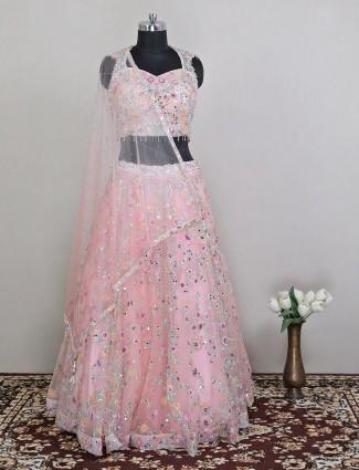 Flamingo pink net lehenga for gorgeous women