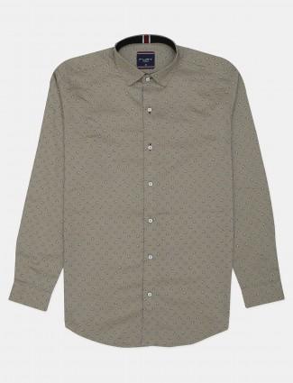 Flirt beige printed cotton casual shirt in cotton