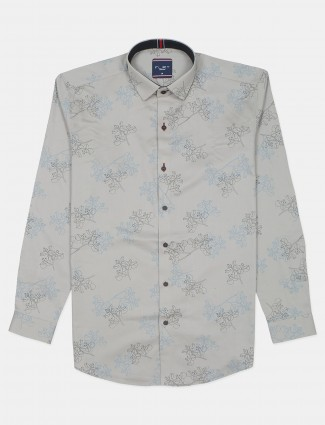 Flirt grey cotton shirt for men in printed style