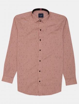 Flirt peach printed cotton mens shirt