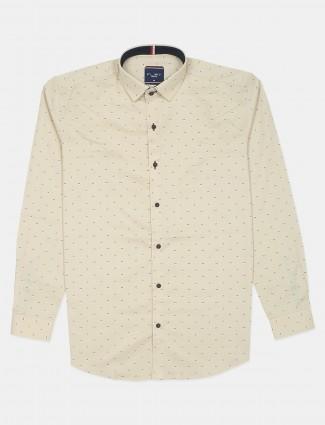 Flirt printed cream cotton shirt for men