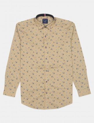 Flirt printed mango yellow tint men casual shirt