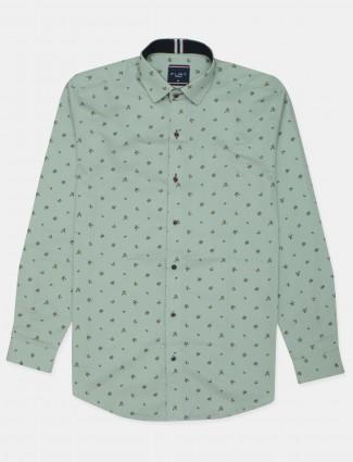Flirt printed pista green cotton shirt for men