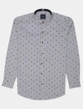Flirt printed style lavender slim fit shirt for men