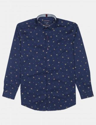 Flirt printed style navy hue cotton shirt