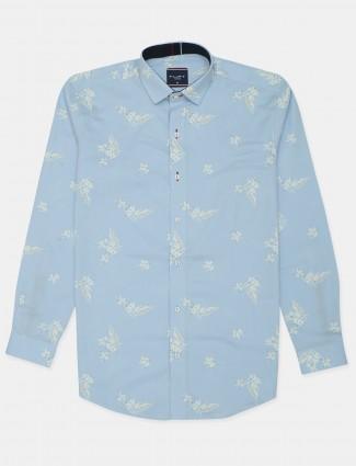 Flirt printed style sky blue hue cotton shirt