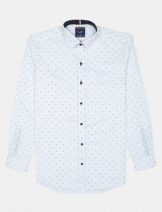Flirt printed style white casual shirt for men