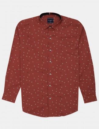 Flirt rust orange printed cotton shirt for men