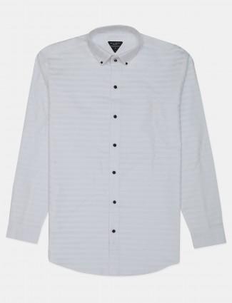 Flirt white stripe cotton casual shirt