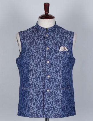 Floral printed blue waistcoat in silk