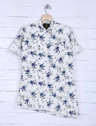Flower printed white cotton fabric kurta suit