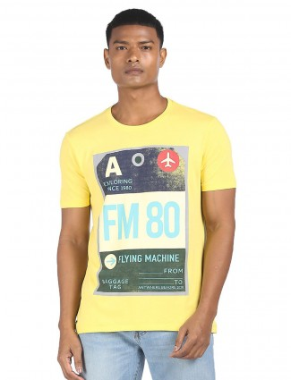 Flying Machine cotton casual t-shirt in yellow