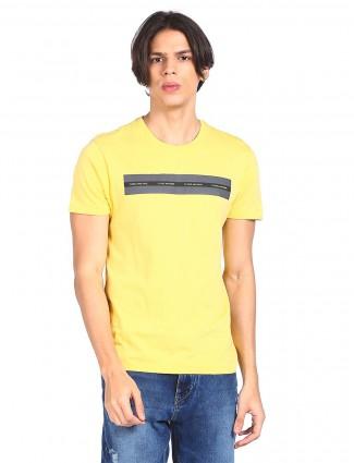 Flying machine cotton yellow t-shirt