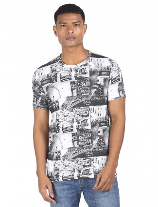 Flying Machine printed cotton casual t-shirt in white tint