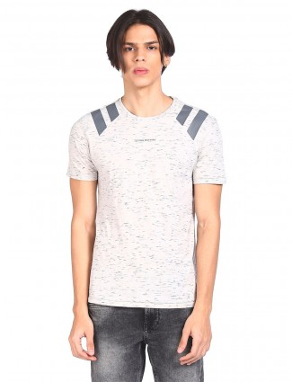 Flying machine printed cotton off white t-shirt