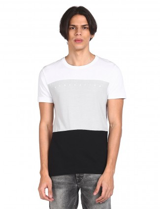 Flying machine white casual t-shirt for men in cotton