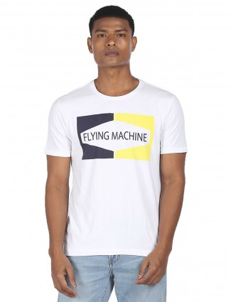 Flying Machine white cotton casual t-shirt for men