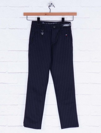 Forway cotton fabric black hued stripe trouser