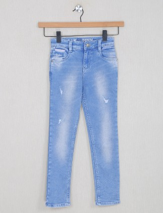 Forway ripped jeans for boys in neon blue shade