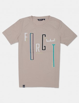 Freeze beige printed cotton casual wear t-shirt