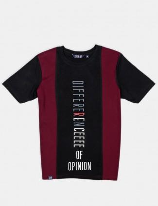 Freeze black slim fit cotton printed polo t-shirt
