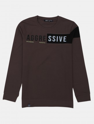 Freeze brown printed cotton casual t-shirt
