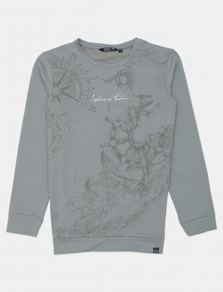 Freeze casual wear grey printed cotton t-shirt