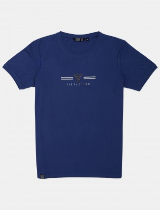Freeze casual wear navy printed cotton t-shirt