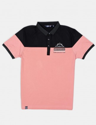 Freeze casual wear solid peach cotton polo t-shirt