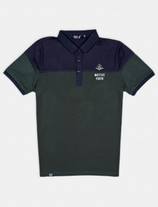 Freeze cotton green solid polo t-shirt