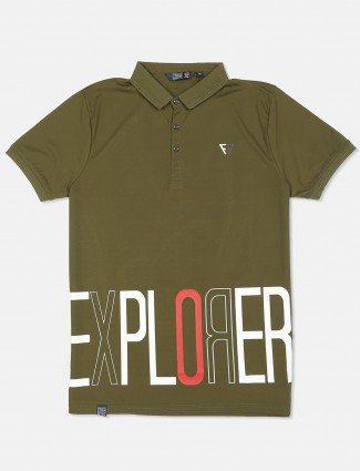 Freeze cotton olive printed t-shirt