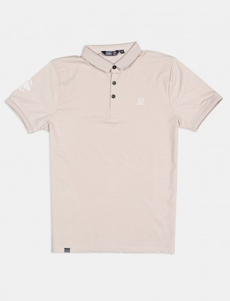 Freeze cotton solid beige polo t-shirt