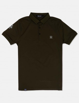 Freeze dark green solid polo neck t-shirt