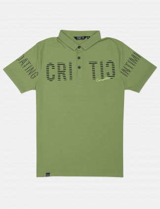 Freeze green slim fit cotton printed polo t-shirt